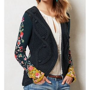 Anthropologie stitched flora cardigan